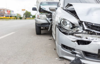 Two cars after a road collision